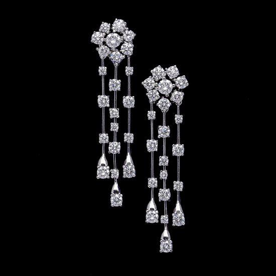 Pendientes de Novia con exquisito diseño en diamantes