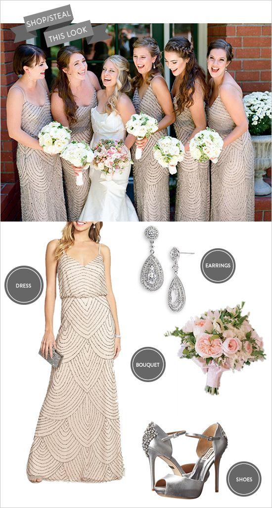 Pink and silver bridesmaid dress idea.