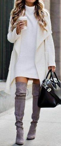 #Winter #Outfits / White Sweater Dress + Knit Oversized Cardigan