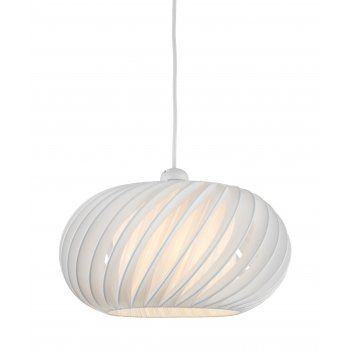 An easy to fit cream ceiling shade that will fit directly onto an existing wire pendant and lamp holder. A great way to update your lighting without spending a fortune. It's neutral colour will fit in easily with any existing colour scheme whilst it's slated twisted design gives an interesting design.