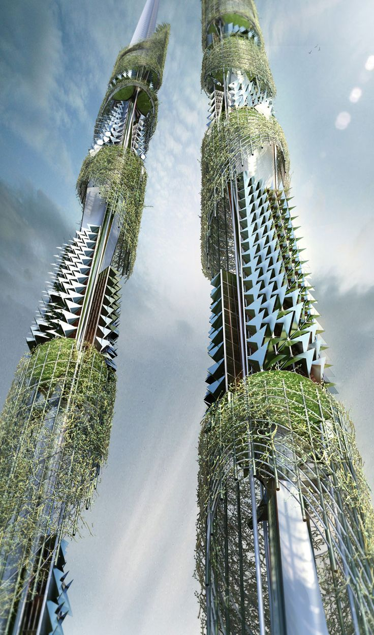 The Taiwan Tower is a Sustainable Twin Syscraper for the 21st Century by Vienna-based architect Steven Ma in Collaboration with San Liu, Xinyu Wan, and Emre Icdem. #architecture ☮k☮