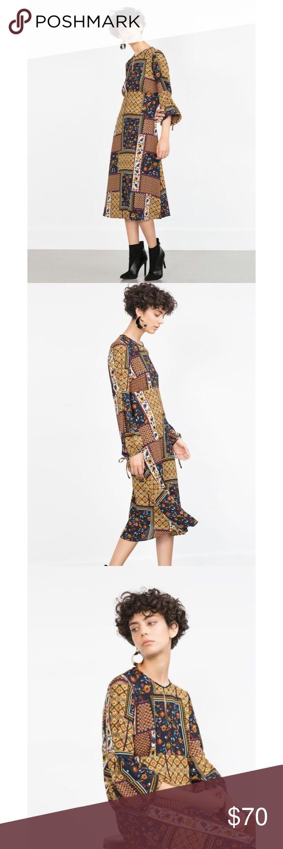 ZARA Long Patchwork Dress EUC Sz sm 🍁🔥 ZARA Long Patchwork Dress EUC Sz sm 🍁🔥 Patchwork prints are key to working the boho trend this season. Zara's dress features a round neck with keyhole detail, fluted sleeves and finishes mid-calf. Team with large abstract earrings for a modern twist. This dress is stunning. Zara Dresses