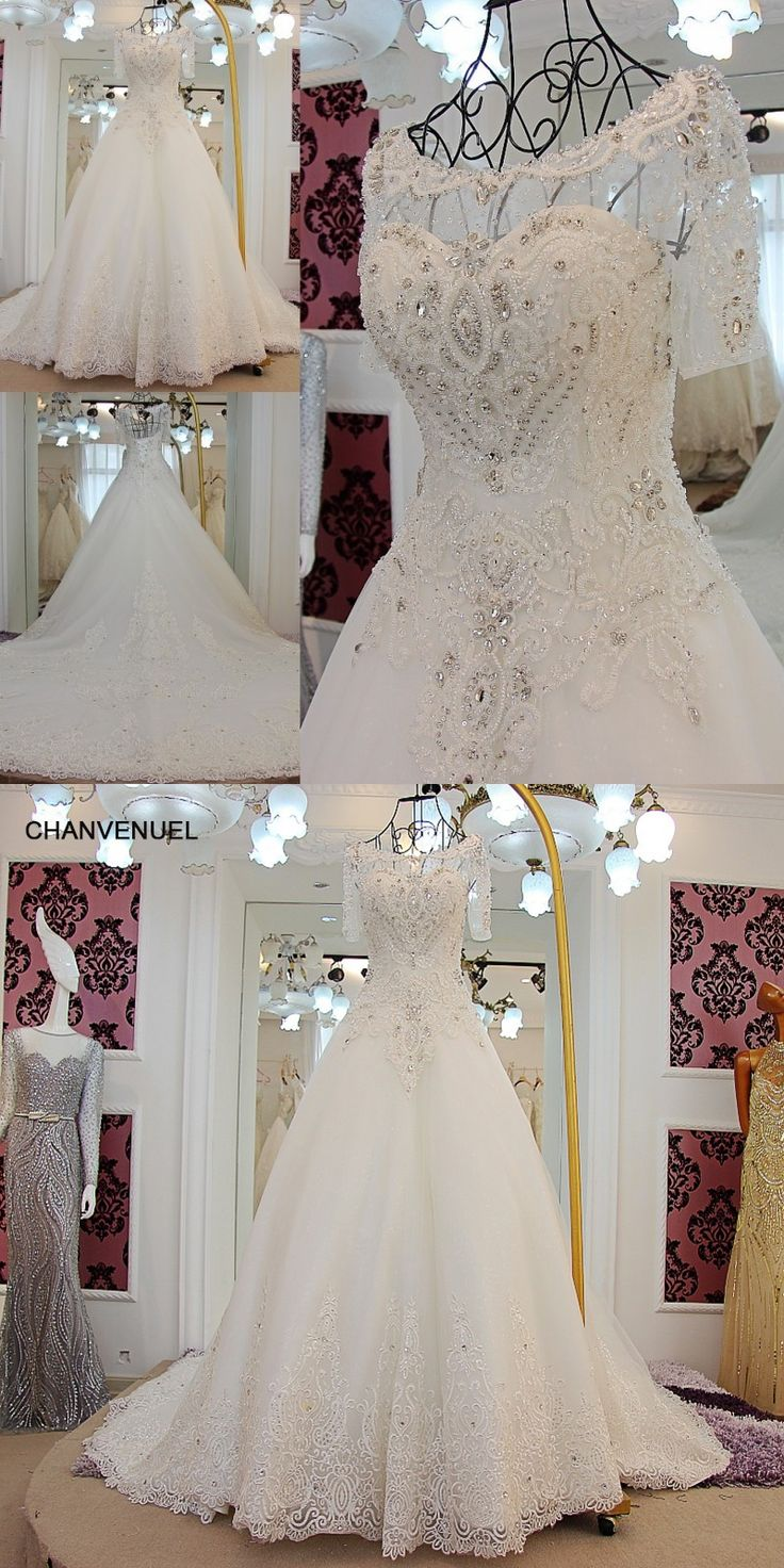 LS61237 Popular Ball Gown Wedding Dress 2016 Princess Bride Gowns Vestido De Noiva Vintage Short Sleeve Wedding Gown