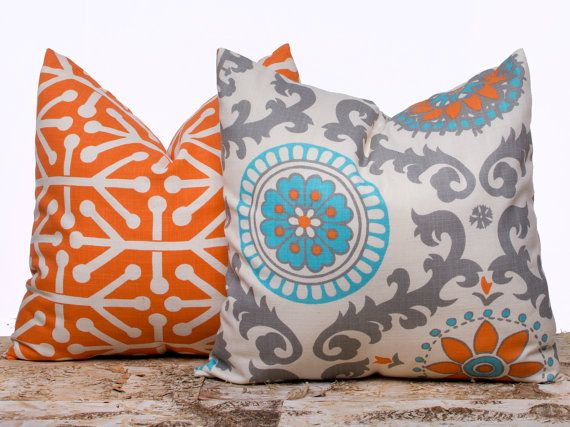Pair of Orange Pillows Pillow Cases Decorative by LilyPillow, $26.00