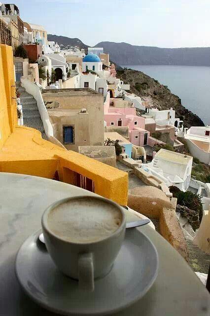 Morning Coffee in Oia....