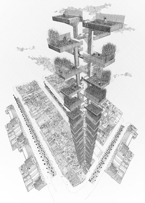 This series of hand drawings by Bartlett School of Architecture graduate Ned Scott