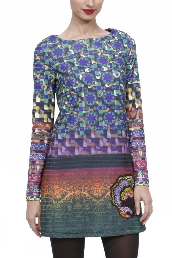 Vestido punto estampado  geometrico multicolor.