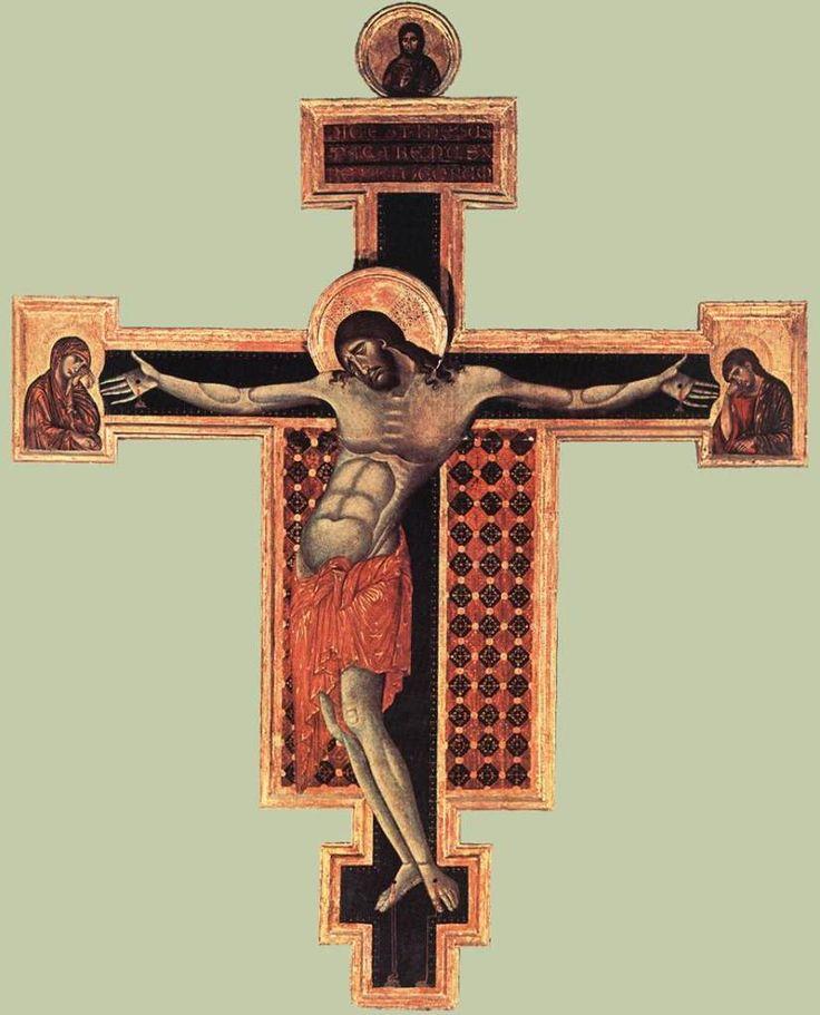Распятие. Чимабуэ. 1268-71, церковь Сан-Доменико, Ареццо.
