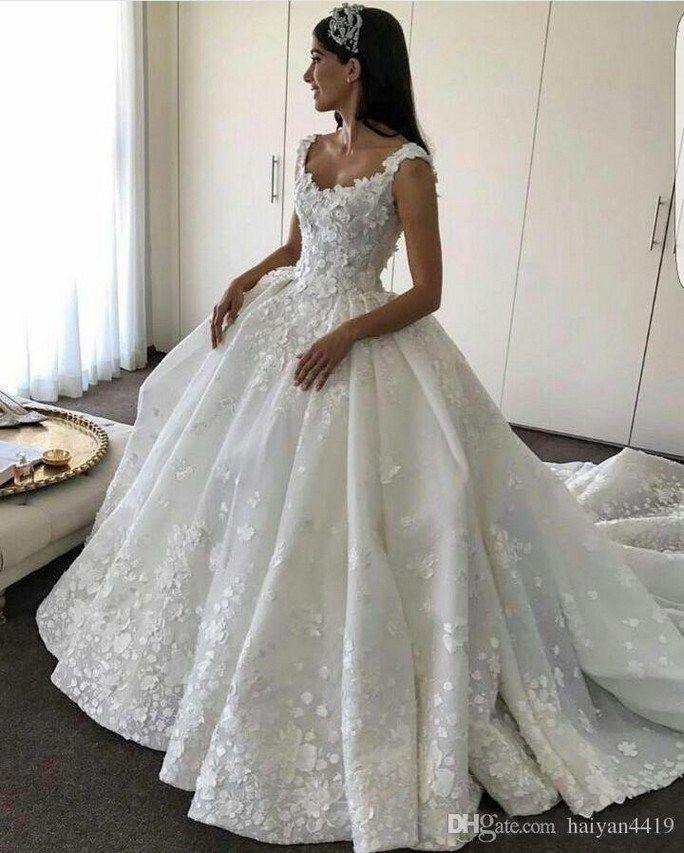 009681d854b Luxury lace off the shoulder neckline ball gown wedding dress with lace  appliques   3d flowers