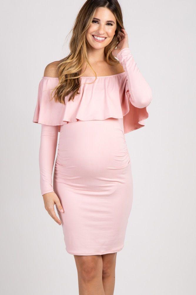3dafaf93f8e Pink Ruffle Trim Off Shoulder Fitted Maternity Dress