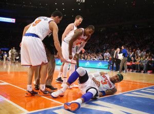 Knicks Kenyon Martin had a severe ankle sprain, but should be back for the playoffs.