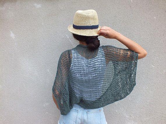 Encogimiento de hombros de verano Shrug verde Boho inspirado