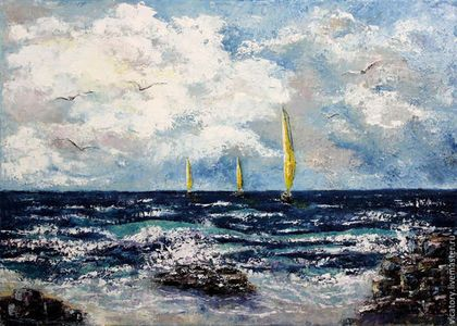Картина 'Стихия. Вода и Земля' Poems. Water and Earth, sea and the rocks by Victoria Sokolova oil, canvas, 50*70, 2015