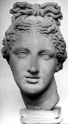 Statue, marble, 100-140, after an Hellenistic Greek original, Roman. Head of Aphrodite. Love her hair! Damaged by fire at some point.