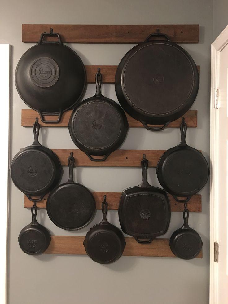 Ipe wood pot rack for cast iron skillets