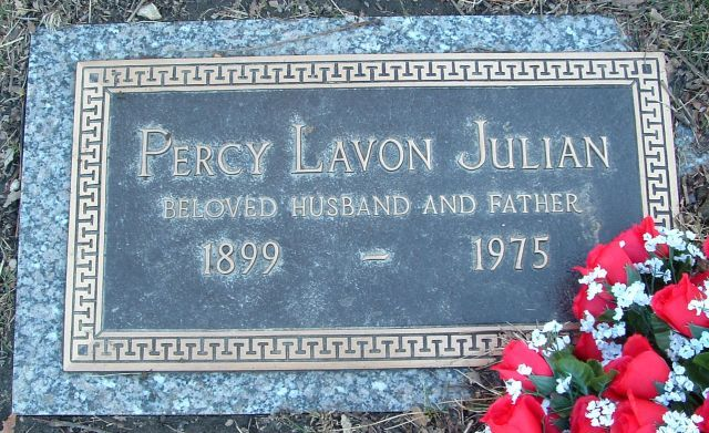 Dr Percy Lavon Julian - Chemist, civil rights leader. He was research director of the soya products division and later chemicals development division of the Glidden Company (1936-1953), headed his own companies after 1953, is credited with synthesis of physostigmine for treatment of glaucoma, of the female sex hormone progesterone, and of a compound from soybean sterols making possible quantity production of cortisone.