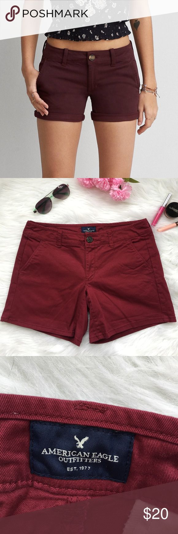 "AEO burgundy midi shorts ◾️NWOT  ◾️ships in 24 hours  ◾️no trades ◾️make me an offer 🌸 ◾️17"" laying flat across, 8"" rise, 6""inseam American Eagle Outfitters Shorts"