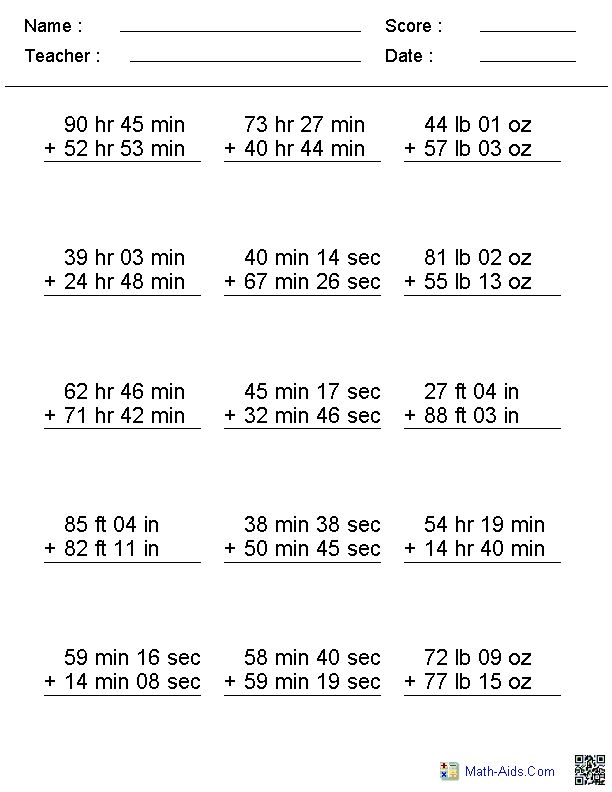 Adding Irregular Units Addition Worksheets - Generate as many versions as you want. Print or save. math-aids.com