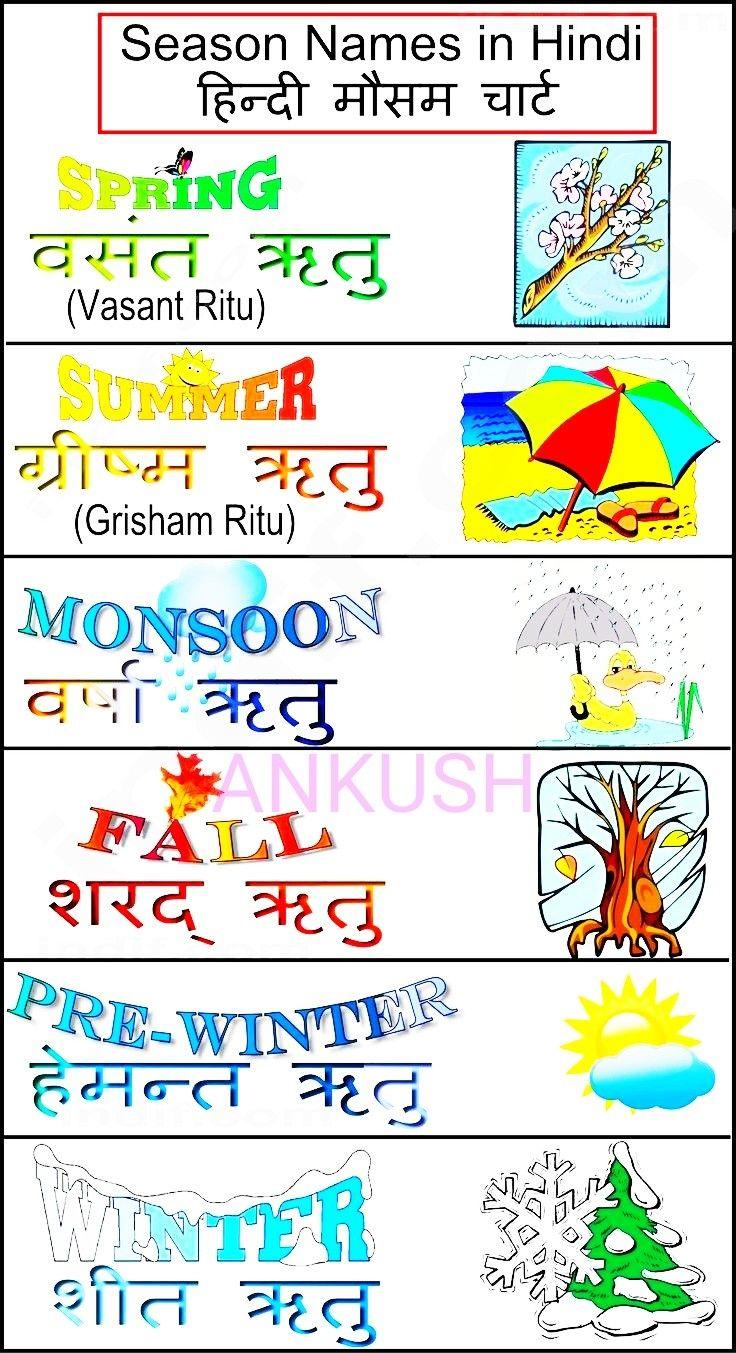 Season Name Hindi Language Learning Learn Hindi Hindi Words [ 1353 x 736 Pixel ]