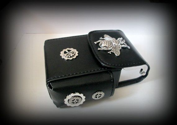 Black Leather Cigarette Case with Lighter by presents4u on Etsy