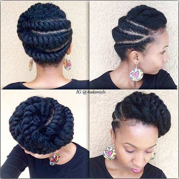 Protective Hairstyles For Natural Hair natural looking wig protective hairstyle 21 Gorgeous Flat Twist Hairstyles