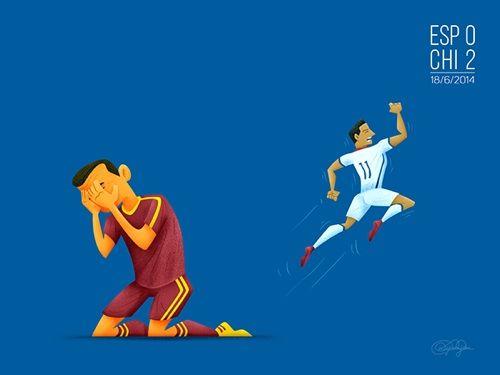 5. La sorpresiva eliminación de la selección española a manos del equipo chileno en fase de grupos.