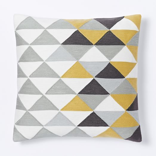 optical triangle crewel pillow cover horseradish west. Black Bedroom Furniture Sets. Home Design Ideas