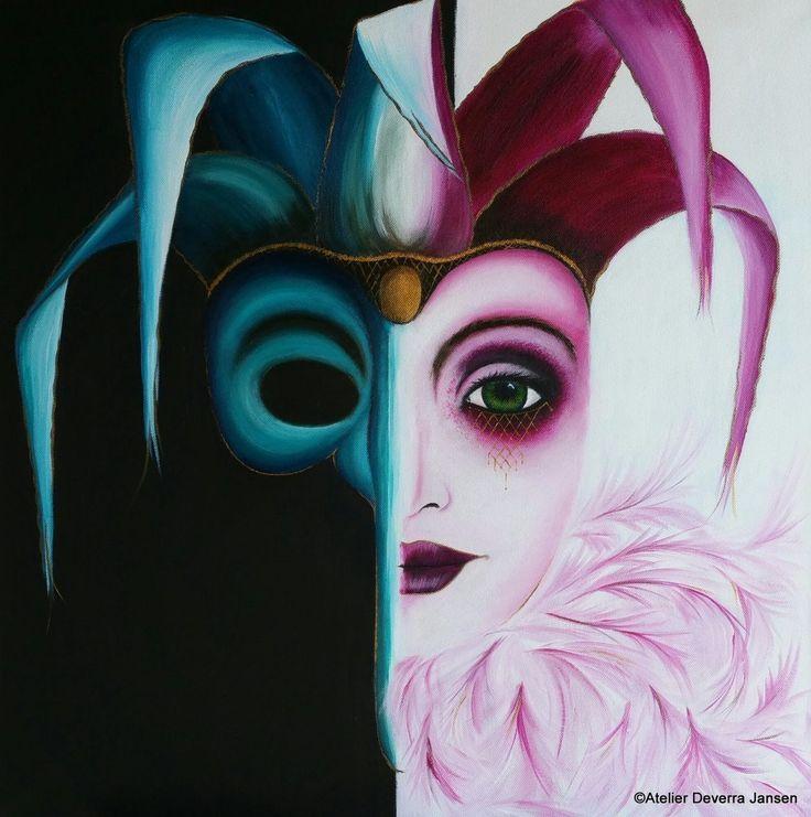 Dualiteit van het masker, schilderij van Deverra Jansen | Abstract | Modern | Kunst