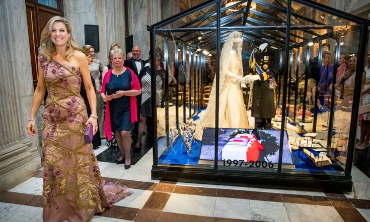 Queen Maxima showed guests around the Royal Palace in Amsterdam on April 28. The Dutch Queen and her husband King Willem-Alexander invited 150 guests in to celebrate his 50th birthday.
