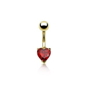 #Valentines Day Gifts Bling Jewelry Gold Plated Garnet Color CZ Heart Belly Button Ring Stainless Steel