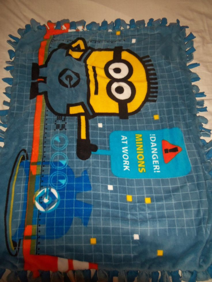 Colorful Movie Minion at Work Cartoon Characters Brand New  Double Sided Hand Tied Fleece Rag Toddler Blanket by TrasheeTreasure on Etsy