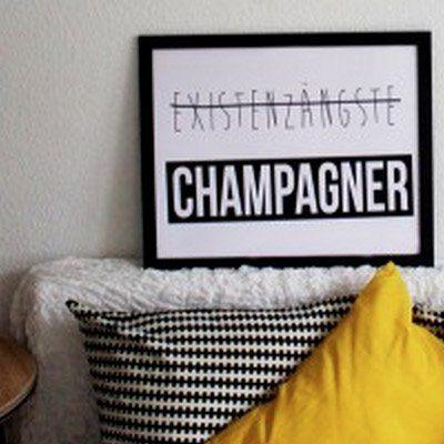 Existenzängste Champagner Print, Kunst, Kollagen, Acrylbilder, Wandbilder, gerahmte Poster, ungerahmte Poster, Designbilder, Leinwände,  Alu-Dubonds, Geschenkideen jetzt online kaufen auf PURISD.de