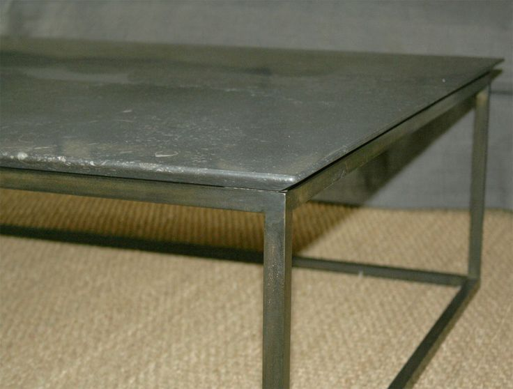 Lucca Custom Made Belgian Stone Coffee Table With Steel Base