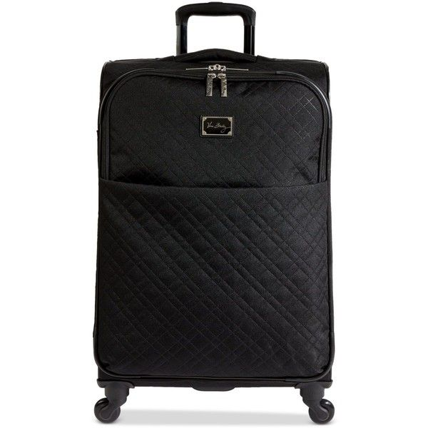 "Vera Bradley 27"" Spinner in Classic Black (470 CAD) ❤ liked on Polyvore featuring bags, luggage and classic black"