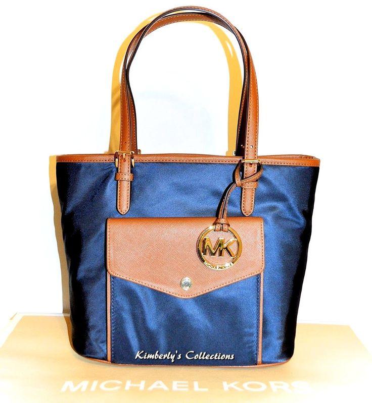 Michael Kors Jet Set Medium Multifunction Pocket Purse Tote Bag Navy Blue NWT #MichaelKors #handbags #purses