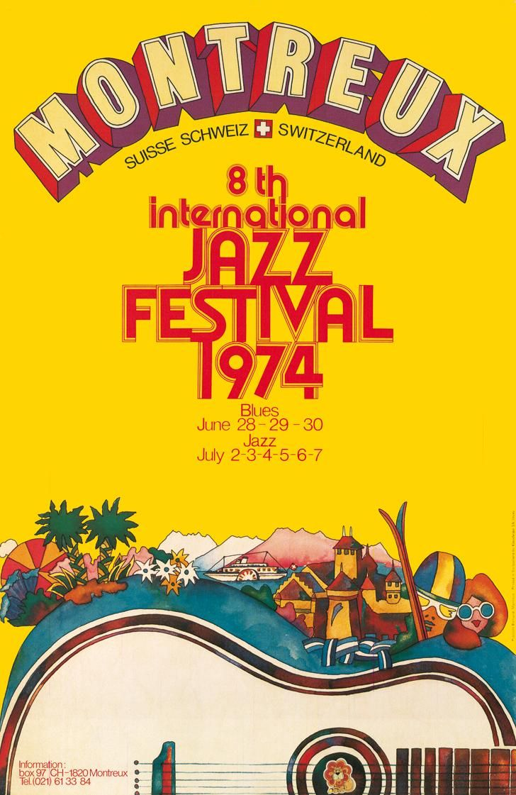 Montreux Jazz Festival Switzerland 1974 by Bruno Gaeng (Vintage Music Poster / Concert Poster / Retro Graphic Design )