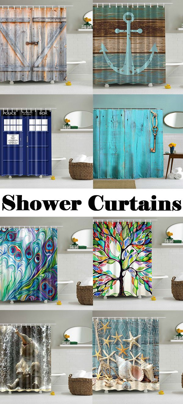 Eco-Friendly Dream Wood Door Printing Shower Curtain For Bathroom