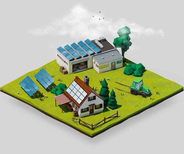 Renewable Energy Tiles On Behance 3d Infographics
