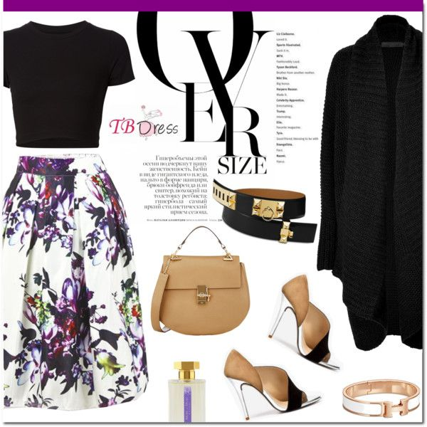 Floral skirt for fall by stellaasteria on Polyvore featuring Donna Karan, Getting Back To Square One, Chloé, L'Artisan Parfumeur, Prada and tbdressreviews