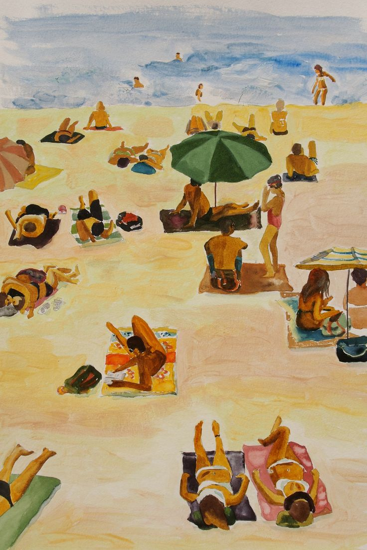 Watercolour I did in Nice. I love the beach where everyone enjoys the same thing - sun and ocean.