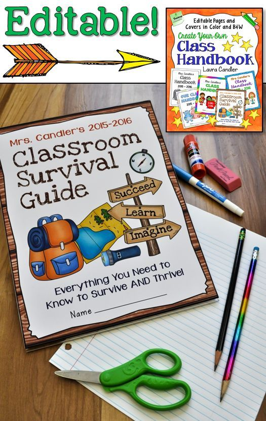 Create your own class handbook in a flash when you start with these editable pages and covers! This survival-themed class handbook cover is just one of five designs you can customize. New from Laura Candler! $