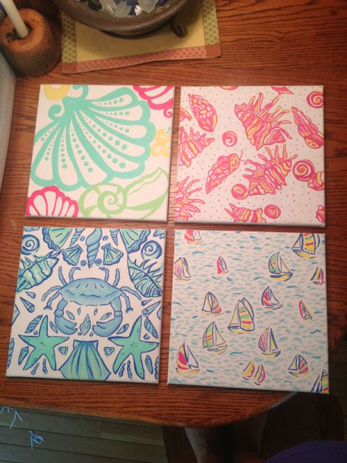 Lilly coasters made from agenda pages so cute