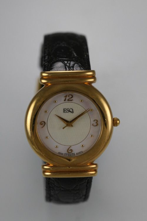 ESQ Watch Mens Mother of Pearl Stainless Gold Black Leather Water Resist Quartz