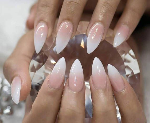 Nude ombre nails baby boomer | Press on nails | False nails | Glue on nails | Nail art | Stiletto Nails | Acrylic nails| Almond Nails >> About the product << Get styled with this beautiful Press on nails, made from gel polish and sealed with a UV gel topcoat to ensure quality. ♥