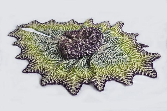 Ravelry: 2-Color Under Dutch Skies Brioche Shawl pattern by Nancy Marchant