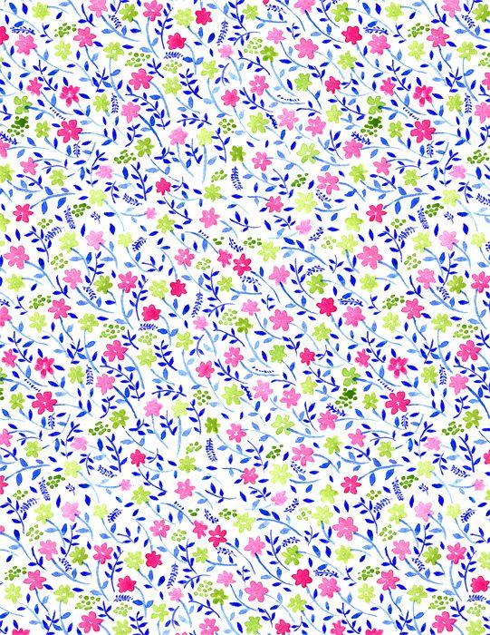 Floral Pattern by Vikki Chu: Blue/Green/Violet