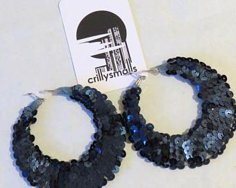 Mermaid Sequin Jewelry Festival Lightweight Large Hoops Navy Blue Iridescent Boho Alternative Hip Hop Bridal Valentines Gift