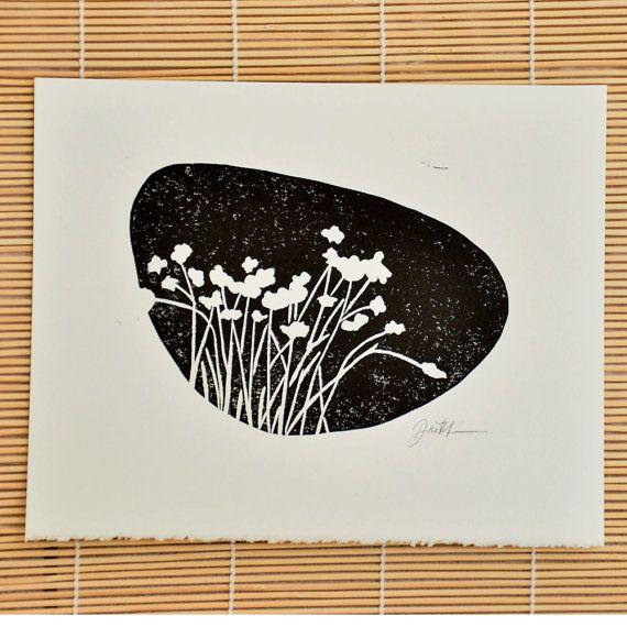 LINOLEOGRAFIA stampa: arte botanica - stampa blocco originale - 8 x 10 nero, pianta wall decor, natura parete arte, silhouette floreali, firmato blocco stampa