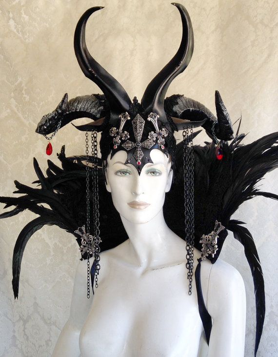 ** Beltaine sale ~ regularly $225. We have one of these in stock and ready to ship! **  Pictured: Demon / Vampire / Wicked Queen Headdress in midnight black with pewter and onyx accents.  This devilish crown is made-to-order, and features gothic cathedral styling, with two unique pairs of horns, a trio of inverted crosses with black and red crystals, and chains dangling from Baphomet-inspired ears. This piece can be dyed and airbrushed in any color-scheme imaginable.  ** Lace and crosses…