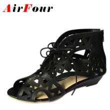 Airfour Большой Размер 34-43 Мода Вырезы Зашнуровать Сандалии Женщин Открытым Носком Низкие Клинья Чешские Летняя Обувь Пляж обувь Женщин(China (Mainland))